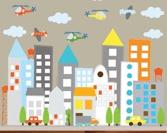 Vinyl Wall Decal  Kids Vinyl Wall Sticker Decal Art city buildings
