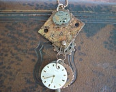 Steampunk Necklace, Rusty and Chippy, Repurposed, Watch Face, Skeleton Key