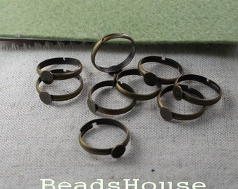 20%off: 10pcs Adjustable Antique Brass Ring With 5mm Blank,Nickel Free