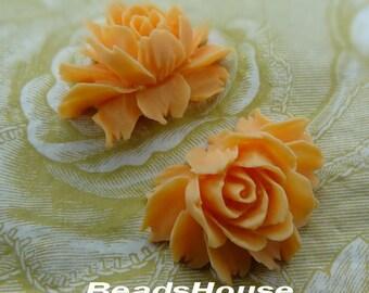New: 2 pcs Pretty Cabbage Rose Cabochon, Egg Yolk