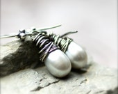 Wire Wrapped Silver Gray Freshwater Pearls