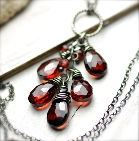 Wire Wrapped Cluster of Garnet  Necklace in Oxidized Sterling Silver January Birthday