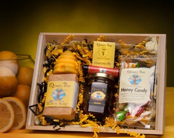 Lemon Honey Beehive Gift basket by Queen Bee Honey of Massachusetts
