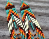 Native American style porcupine beaded earrings