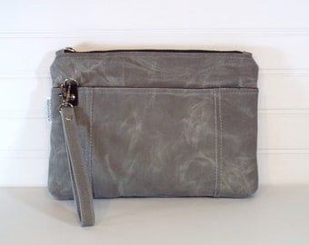 Hand-Waxed Canvas Wristlet, Gray