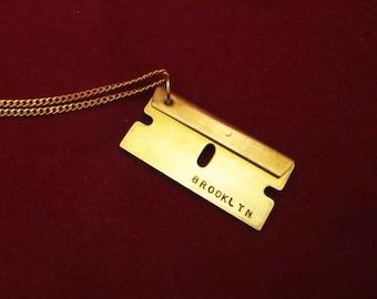 Brooklyn Razor Blade Engraved Pendant Necklace