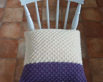 PILLOW / cushion cover . Super -soft, Alpaca/wool blend . ' Moorland Heather '  ( with Mother of Pearl buttons).... ready to ship ....