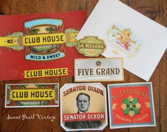 Vintage cigar box labels Lot of 7 Very Colorful Unused Old Stock crafts scrapbooking altered art Clubhouse Swedavana brands