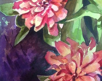 Summer Flowers- Floral Watercolor ORIGINAL painting by SriWatercolors - 11 x 14 in