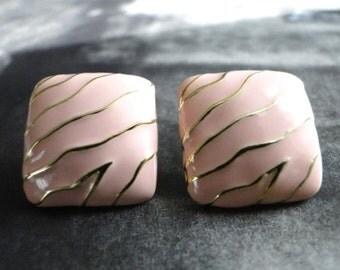 LAST CALL SALE Art Deco Enamel Earrings / Pierced Vintage Earrings / Retro Jewelry / Accessories / Pale Pink Earrings