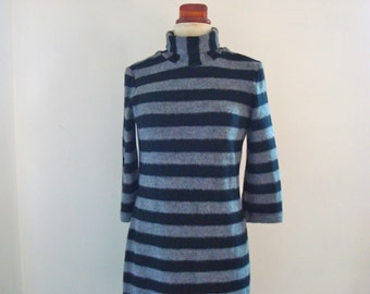 Black and Grey Stripe Knit Dress.