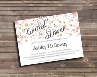 blush pink & gold glitter dots printable bridal shower invitation