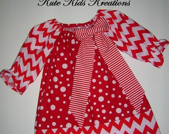 Toddler Dress, Peasant Dress, Red Chevron and Dots, Available Sizes 6M to 5T