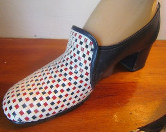 Vintage Red White and Blue woven 1960's Life Stride Heels Shoes