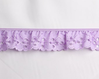 Eyelet ruffled in lavender  for baby couture, bedding, blankets, decor 8 yards