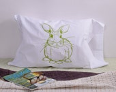 Screen Printed Pillow Cases - Set of 2 Standard Sized Pillow Covers - Eco Friendly Bedding - Bunny Rabbit - Handmade - Cotton Bedding