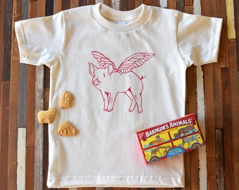 Organic Cotton Toddler Shirt - Screen Printed American Apparel kids T shirt - When Pigs Fly - Kids Clothes - Cotton Tee - You pick size