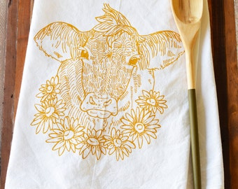 Tea Towel - Screen Print Tea Towel - Flour Sack Towel - Cow - Daisy - Dish Towels - Tea Towels Flour Sack - Kitchen Towels - Tea Towel Set
