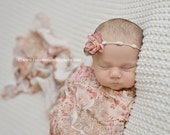 Antique Floral Ruffle Stretch Fabric Wrap Newborn Photography Prop Posing Swaddle