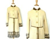 Vintage 60s coat - wool coat  - Icelandic  - sweater dress  - sweater coat - wool dress - Icewool- Medium Large