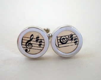 Music Note Silver Edge Cufflinks Sheet Music Handmade UK