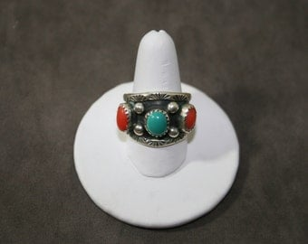 Native American Turquoise,Coral Sterling Silver Ring