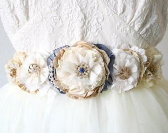Custom Wedding Belts and Sashes, Bridal Sash, Made to Order Floral Sash in your Colors and Style, Unique Bridal Sash, Fabric Flower Belt