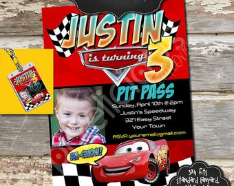 DISNEY CARS Custom Photo Birthday Invitation and Lanyard Pit Pass - Digital File, You Print - 3x4 inches - Words Customizable