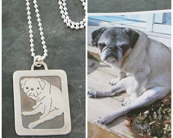 Custom Pet Portrait Pendant Necklace, Pug Dog Art, personalized .. Sterling Silver, Solid Back, Full Body