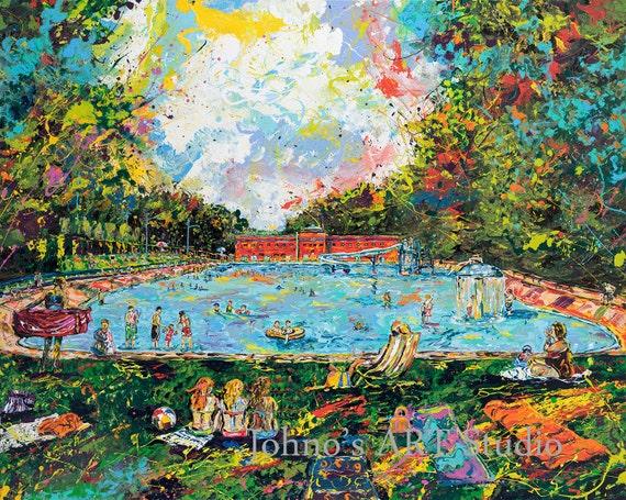 pool painting print dormont pool summer fun art swimming. Black Bedroom Furniture Sets. Home Design Ideas