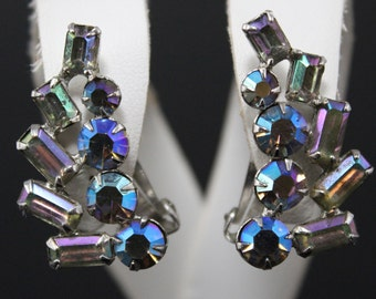 Vintage AB Rhinestone Earrings 1950s Retro Aurora Borealis