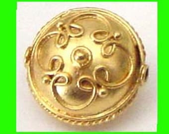 2pcs yellow Gold plated sterling silver coin flat puff bali bead spacer VB28