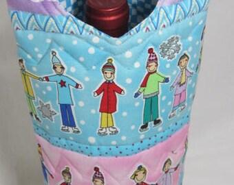 Whimsical Wine Carrier Wine Bottle Bag  Liquor Hostess Gift