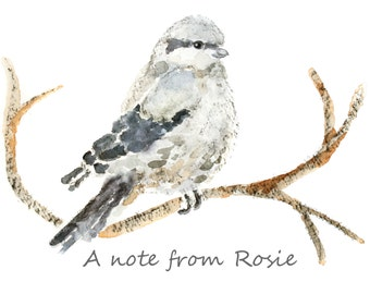 Custom Greeting Cards, Bird Thank You Cards, Set, Holiday cards, Winter Greeting Cards, Gift Grandmother, Bird stationery