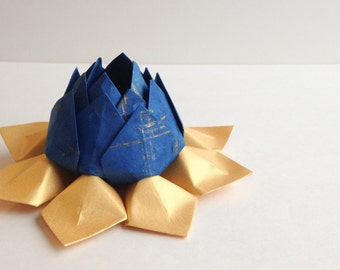 Origami Lotus Flower - Handmade Paper Flower -  royal blue, metallic gold -  Cake Topper, Graduation gift, Hannukah decoration