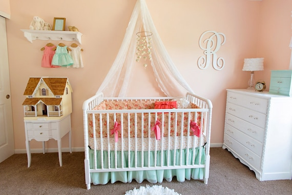 Pretty As A Peach Coral And Aqua Baby Crib Bedding By Peach And Turquoise  Bedroom