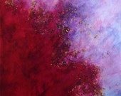 red purple abstract art, mixed media, red and purple painting with gold, bronze and copper leaf, titled into the void