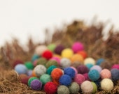 Felted balls,10mm  Multicolor mix more than 45 different colors