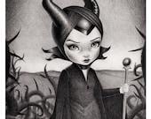 Maleficent. Original Art print by artist Raul Guerra.