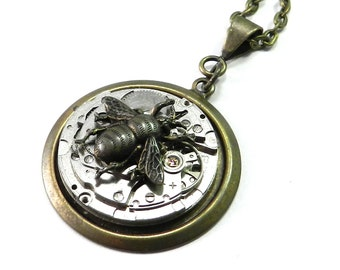 Steampunk Bee Necklace, Clockwork Honey Bee Watch Movement in Brass
