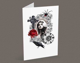 DIABOLIQUE blank note card A6, vintage-goth inspired, halloween card