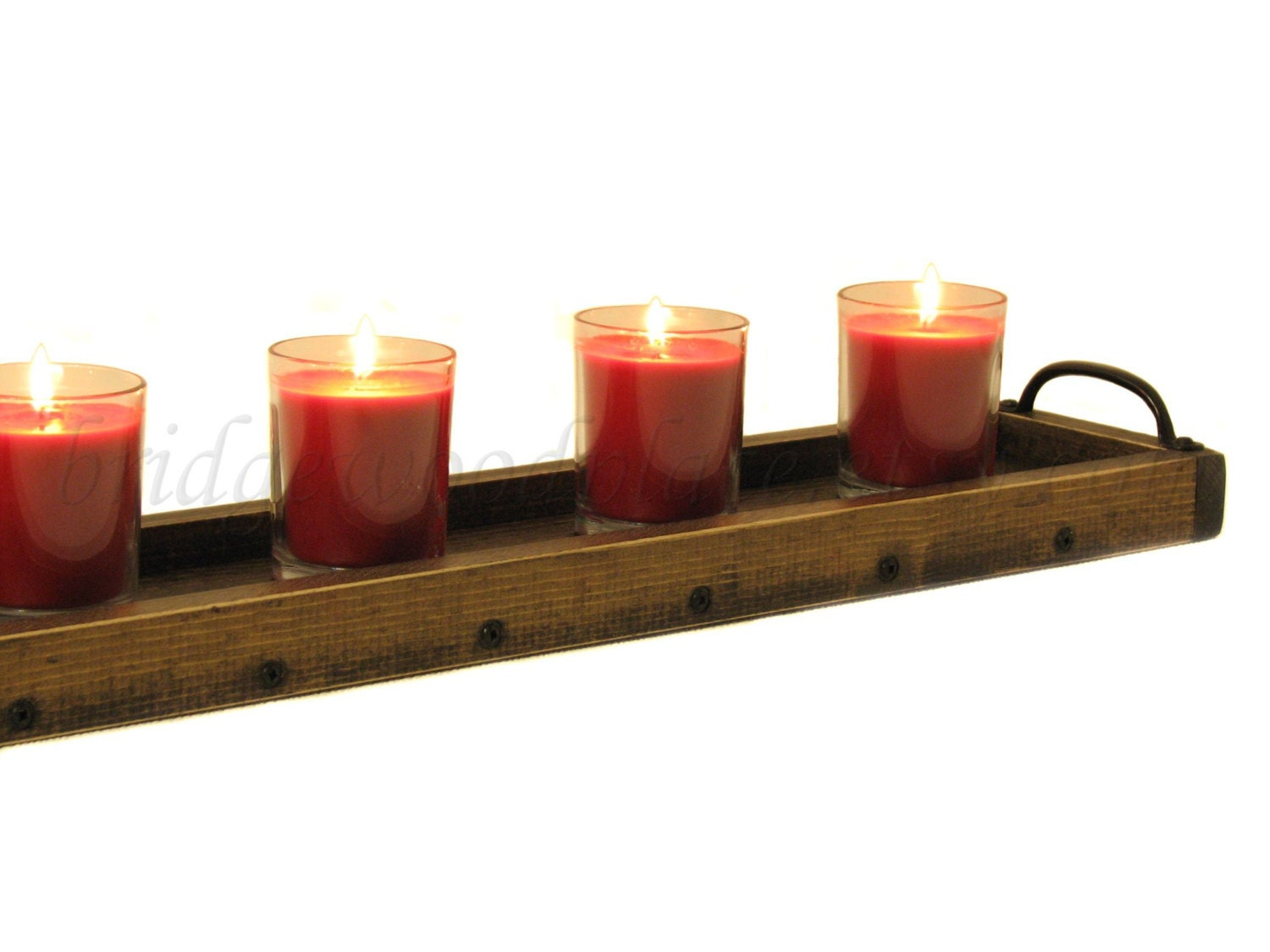 candle holder tray long wooden table by bridgewoodplace on
