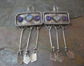Moonstone and Amethyst Chandelier Earrings