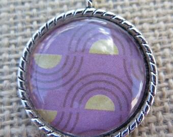 1PC - Purple and Yellow Design  - Round Silver Pendant - 30mm - Glass Pendant