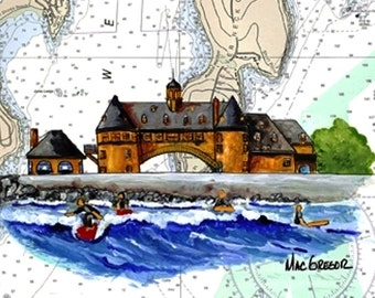 The Towers and Coast Guard House Nautical Chart Art Print Beach and Boardwalk scene of Narragansett, RI with the Beach, Towers and Surfers