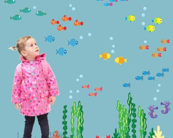 Fish Seaweed Under the Sea FABRIC Decals Reusable Non-toxic NO PVCs, A140