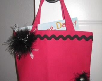 Handmade Hot Pink & Black Canvas Bag/Tote/Purse-Pink LITTLE DIVA Cowgirl Tote-Girl Book Music Bag-Girls Overnight Bag-Girl Birthday Gift Bag