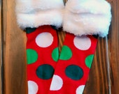 Red Christmas Polka Dot  Baby Leg Warmers With Faux Fur Fits Most Infants Toddlers and Children