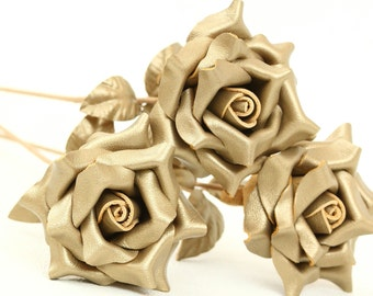 Gold leather rose bouquet  Wedding/3rd Anniversary Gift Long Stem Flower Valentine's Day 3rd Leather Anniversary Mother's Day Prom