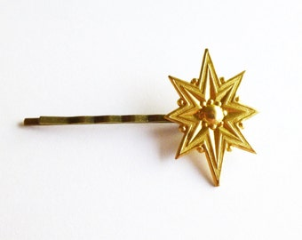 Gold Starburst Hair Clip Star Bobby Pin Celestial Astronomy Constellation Art Deco Wedding Accessories Vintage Style Womens Gift For Her